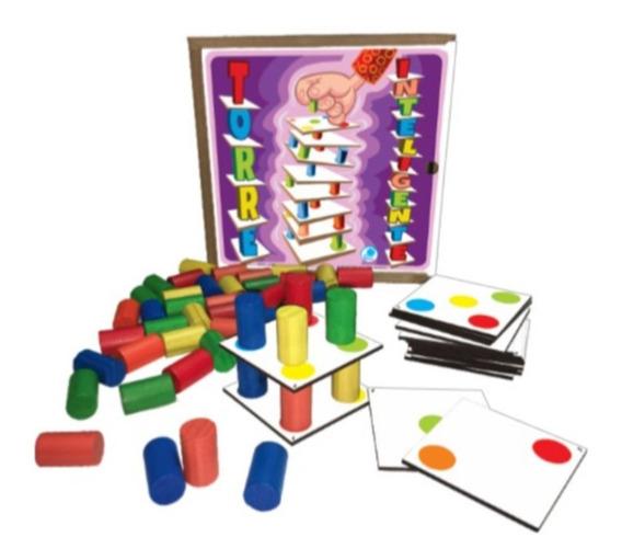Torre Inteligente Madeira Jogo Educativo Pedagógico Simque