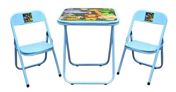 Mesinha Mesa Escolar Infantil Mesinha Dobrável C/ 2 Cadeiras