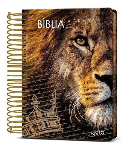 Imagem 1 de 6 de Bíblia Sagrada Anote Espiral Leão De Judá Nvi Letra Normal