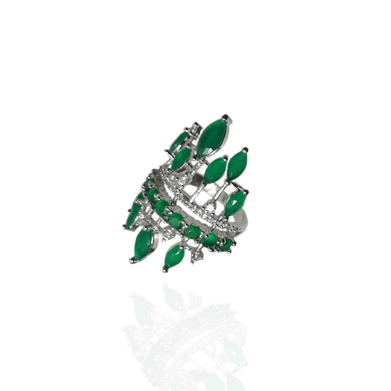 Anel Semijoia, Verde Esmeralda, Ródio Branco