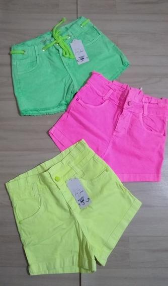 Shorts Neon Cintura Alta Amarelo Rosa Verde