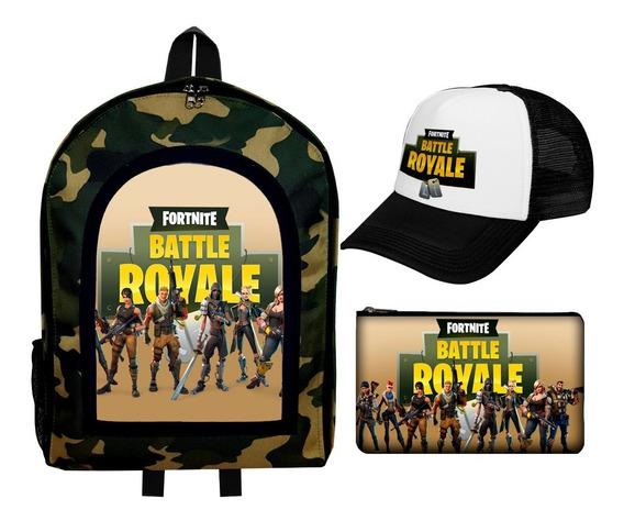 Combo Mochila + Cartuchera + Gorra Fortnite Battle Royale