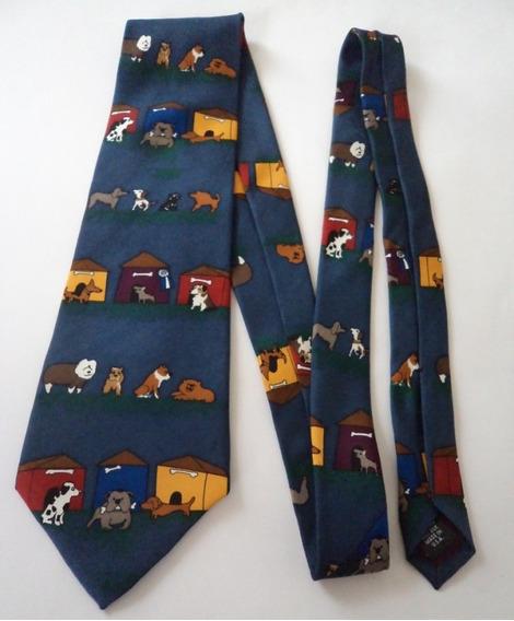 Corbata Color Azul Con Estampado De Perritos Corb341