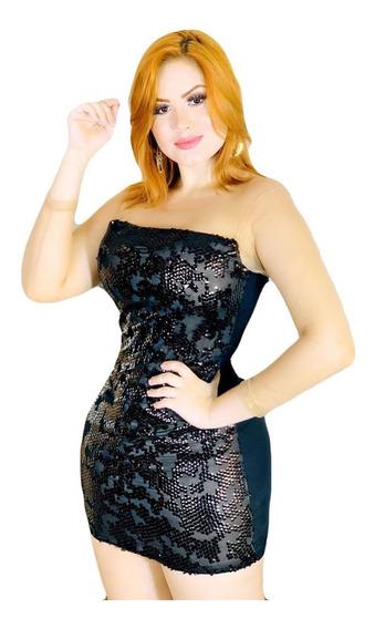 Vestido Feminino Lindo Com Paetê Festa Fim De Ano Moda Roupa