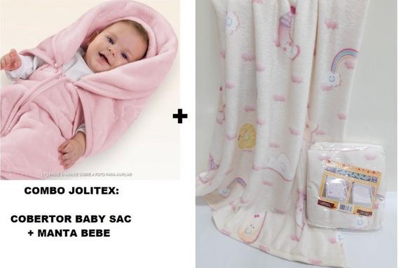 Combo C/ 2 Jolitex !! Cobertor Baby Sac + Manta Bebe Menina