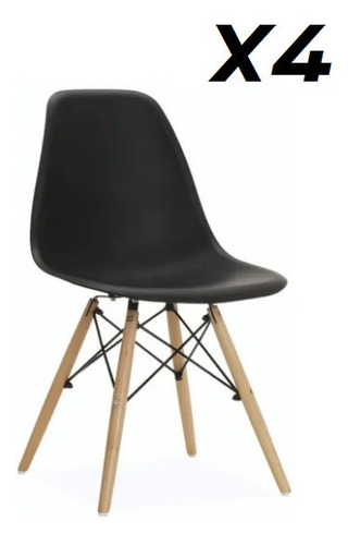 Silla Eames Dsw Blanca De Diseño Comedor Vintage X4 Uni