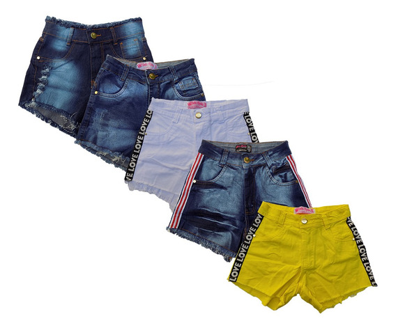 Short Brim Jeans Cintura Alta Hot Pants Coloridos Kit C/4