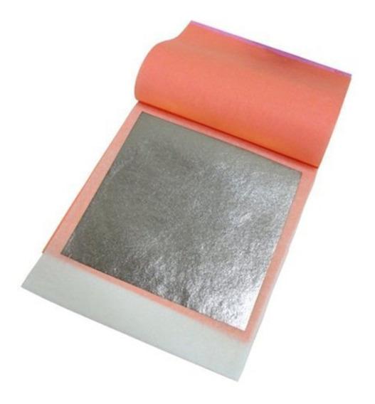 5 Láminas De Plata Comestible 9.5 Cm X 9.5 Cm Cód. 6006