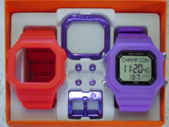 Relógio Champion Yot Original Cp40180x Nf Vermelho E Roxo