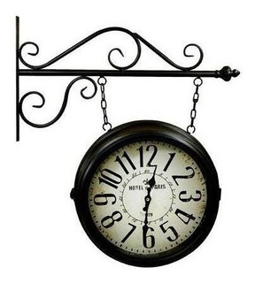 Relógio Parede Estação Antigo Dupla Face Hotel De Paris 38cm