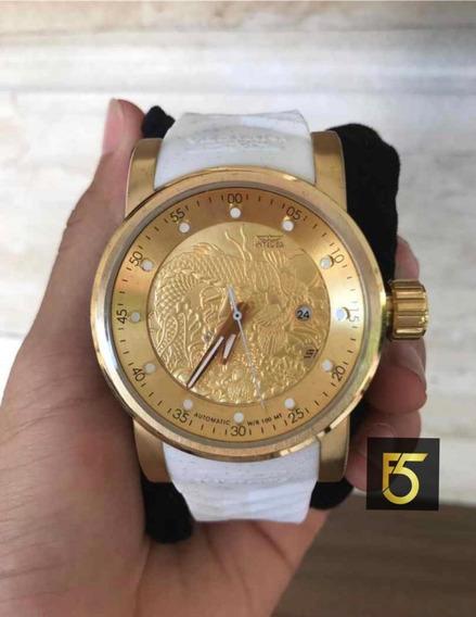 Relógio Invicta Yakuza Automatico Original Pulseira Branca 19546 Frete Grátis Promoção