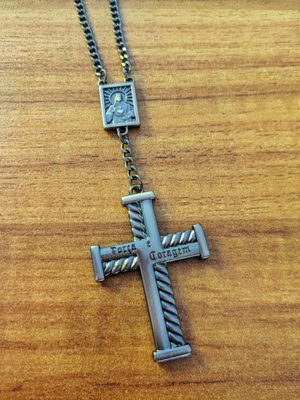 Colar Masculino Crucifixo Fé Força Coragem Tipo Terço