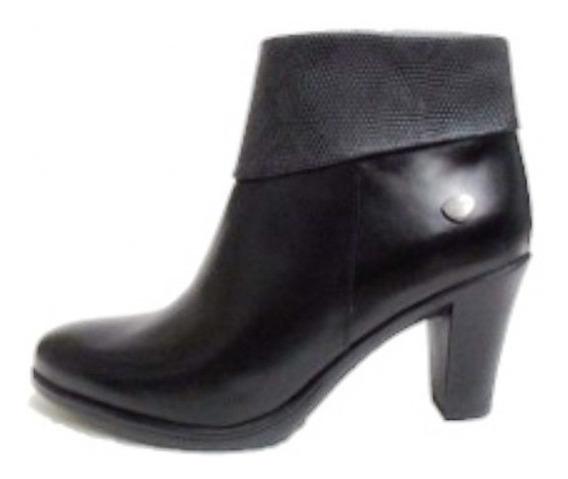 Calzado Bota Cavatini Mujer Cuero Negro Taco 7 Cm Única 35.