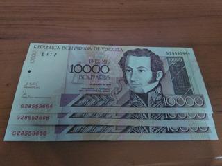 Billetes De 10.000 Bolívares, Consecutivos, Nuevos