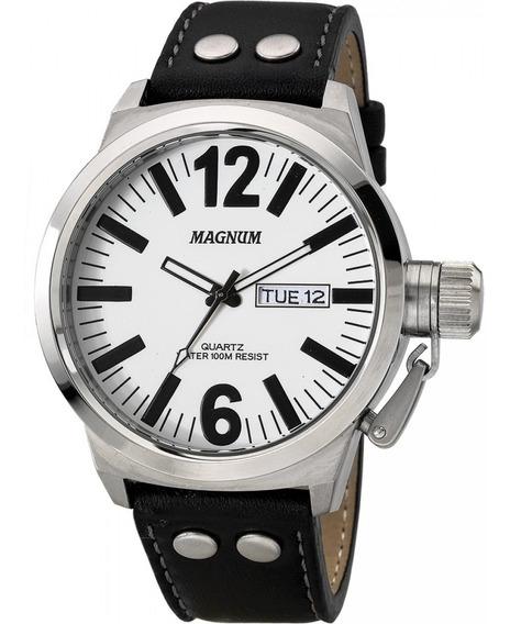 Relógio Magnum Masculino Ma31524q Analógico Couro Preto