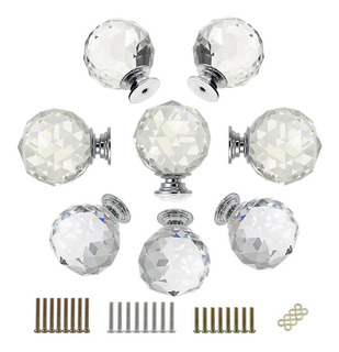 Btsky 8 Pcs Round Diamond 40mm(1.6 Inches) Clear Glass Cryst