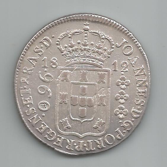 Moeda Prata Brasil - 960 Réis (patacão) - 1812 R - Var. 10a