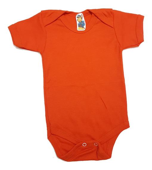 Mameluco Naranja Pañalero Liso Para Estampar Algodón Bebé