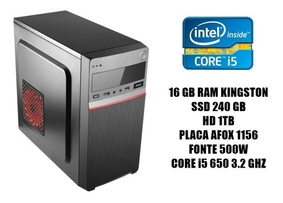 Cpu Workstation Corei5 /ssd240/hd 1tb/ram 16gb/fonte 500w