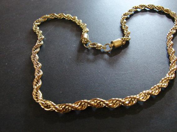 Lindissimo Cordão Aço E Ouro, 60cm Peça Única!