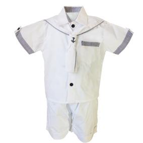 Conjunto Batizado, Camisa, Shorts Com Detalhes De Marinheiro