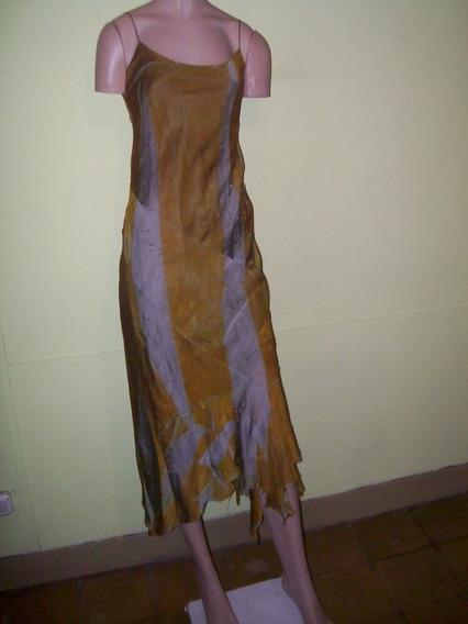 Vestido Con Piedras En La Falda,terminación En Picos T.s/m