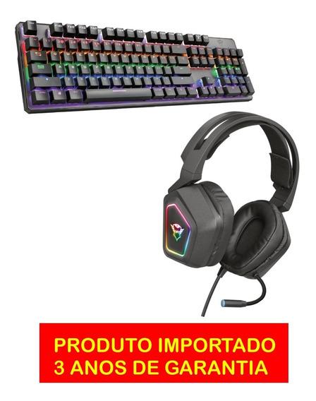 Kit Gamer Trust Importado Teclado Mecanico Rgb Headset Usb