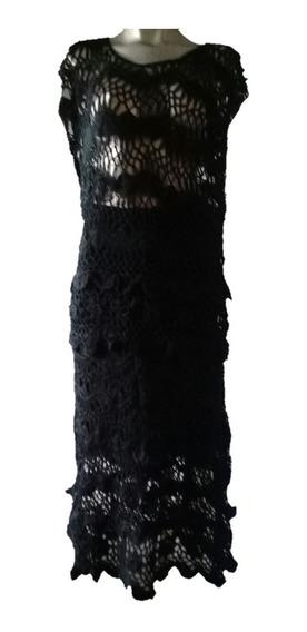 Coordinado Falda Y Blusa Tejida Tipo Crochet Hilo