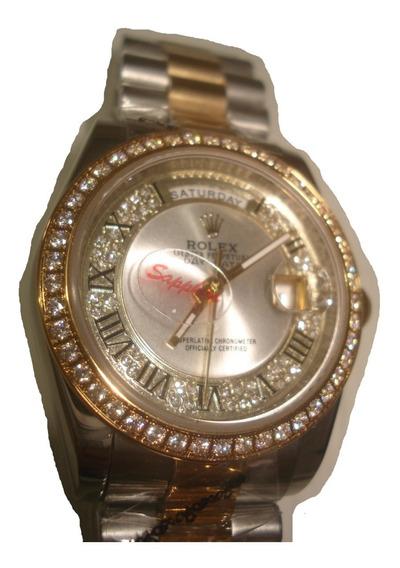 Reloj Nuevo Rolex Day-date Automatico Bicolor Swarovsky