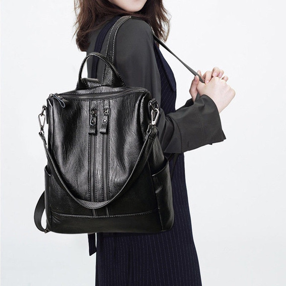 Bolsa De Couro Ecológico Mochila Satchel Fashion Envio Rápid