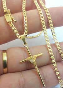 Corrente Cordão E Pingente Cruz Folheados A Ouro 18k 3mm