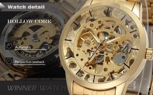 Relógio Masculino Automático Dourado Skeleton Wr8003m4g1
