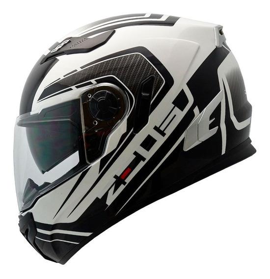 Capacete Moto Zeus 813 C/ Óculos An15 Branco C/ Preto Tam 56