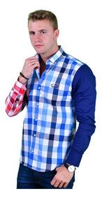 Camisa Porto Blanco Caballero Algodón Azul Cuadros C-710