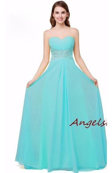 Vestido Longo Festa Madrinhas Formatura Azul Tiffany Cód 1a