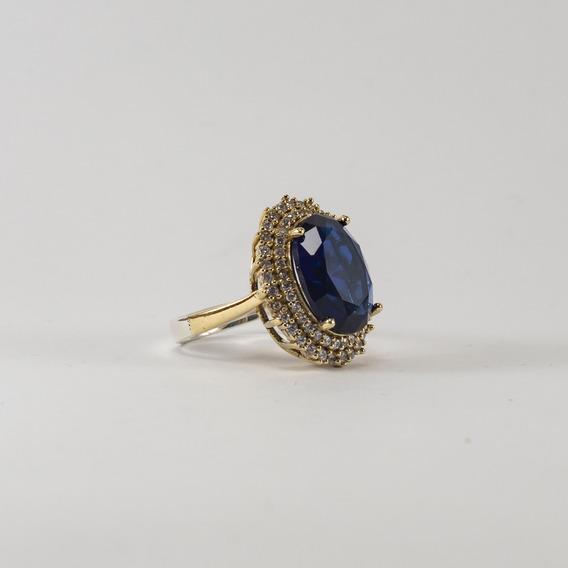 Anillo Plata 925 Con Bronce Piedra Topacio Azul