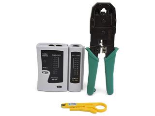 Tester De Red Y Teléfono Rj45 Rj11 Rj12 + Pinza Crimpeadora Con Pela Cables