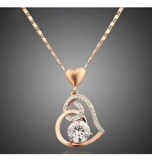 Cadena Con Dije De Corazón Chapa De Oro 18 K Oro Rosado