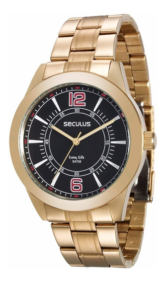 Relógio Seculus Dourado Masculino Long Life 28864gpsvda3