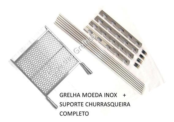 Suporte Churrasqueira Pequena Até 60cm + Grelha Moeda Inox