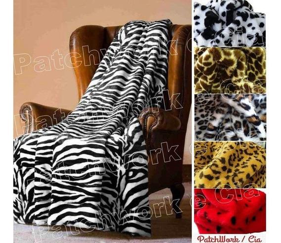 Tecido Pelúcia P Chinelos Pantufas 50cm X 1,60 Onça Zebra