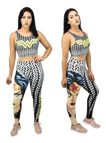 Legging + Top / Blusa Mulher Maravilha 3d Fitness Academia