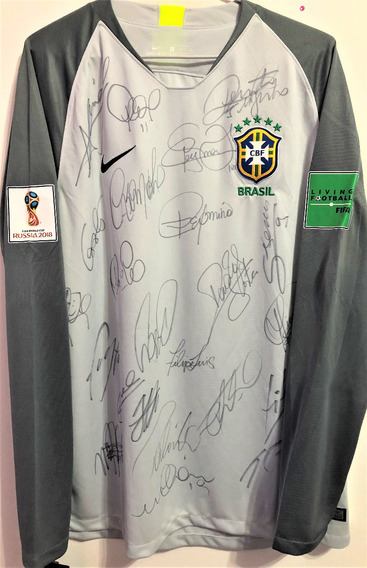 Camisa Brasil Copa Do Mundo 2018 Autografada Todos + Tite