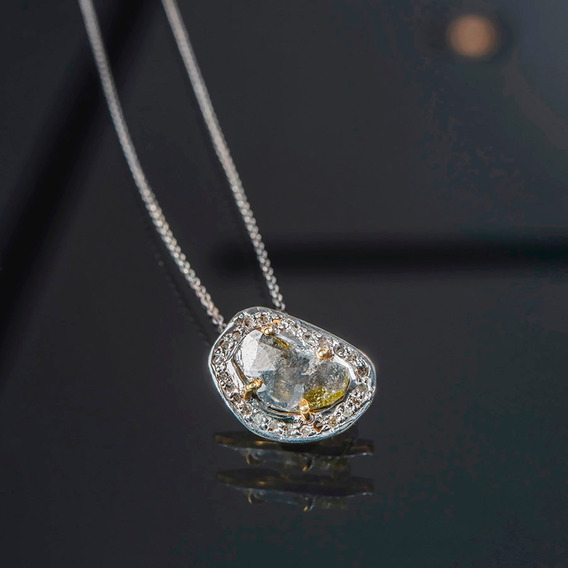 Collar De Plata Con Diamante Sucio En Grande Y Pequeños