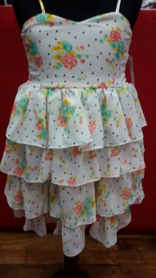 Vestido Niña - Gasa Estampada Talle 4 Y 8 Ultimos Liquido