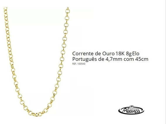 Corrente Portuguesa Ouro 18k750 Código - 100540