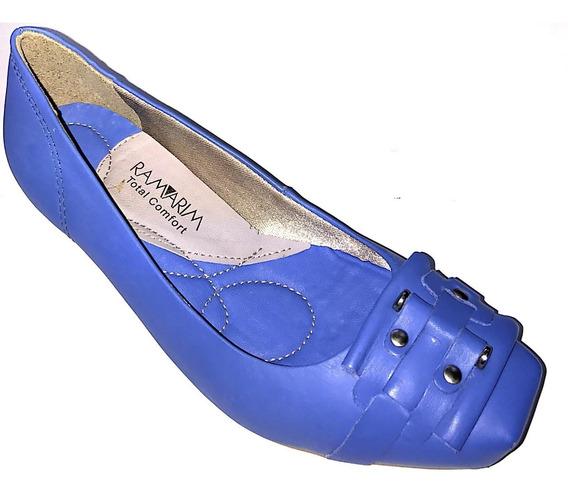 Sapato Feminino Ramarim Couro Salto 4 Cm Verde Creme Ou Azul