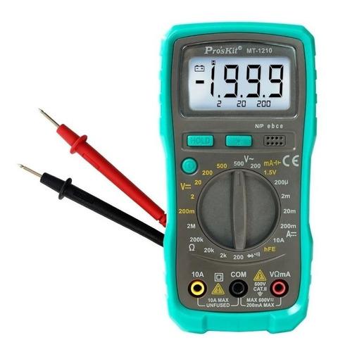 Imagen 1 de 10 de Multímetro Profesional Tester Proskit Mt-1210 Digital Mide Voltaje Ac Dc Diodos Resistencia Amperaje