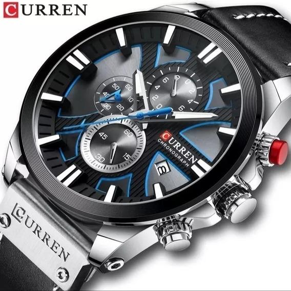 Relógio Masculino Curren Cronografo Esportivo Couro E.20