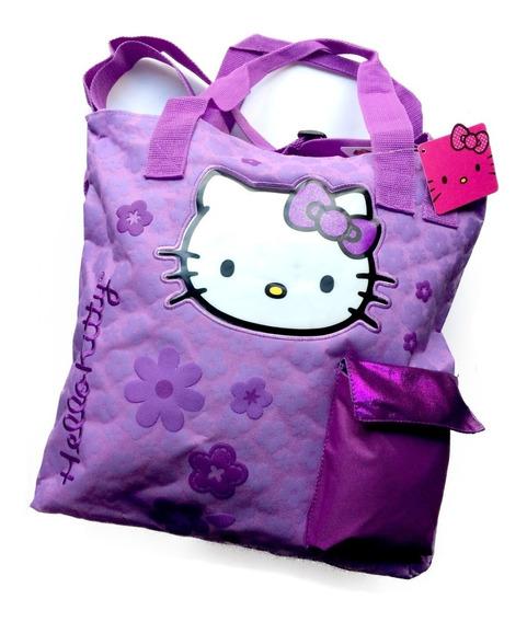 Bolsa Hello Kitty Negra Tote Doble Correa Amplia 40x42cm